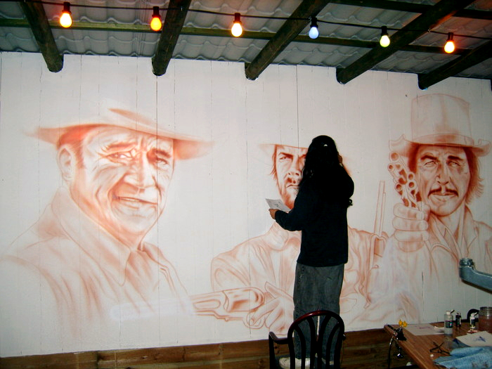 Nostalgia - setting up mural in Cafe Las Vegas, Emmen, The Netherlands