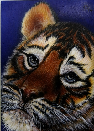 "Blue Eyes  5""x7"" Painted on birch panel in Jurek Zamoyski's method, a mixture of airbrush and..."
