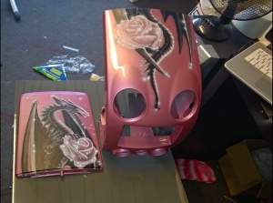 Front panel Dashboard Beetle Airbrush dragon and roses